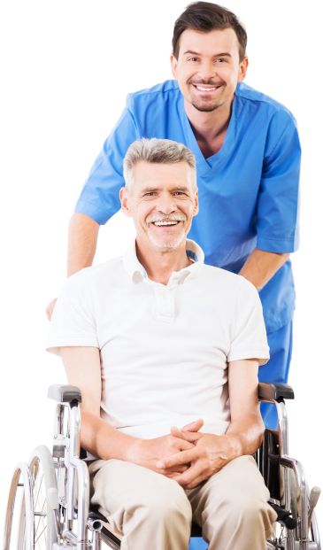 caregiver and senior man sitting in the wheelchair smiling